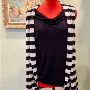 INC metallic striped sleeveless layered top sz XL